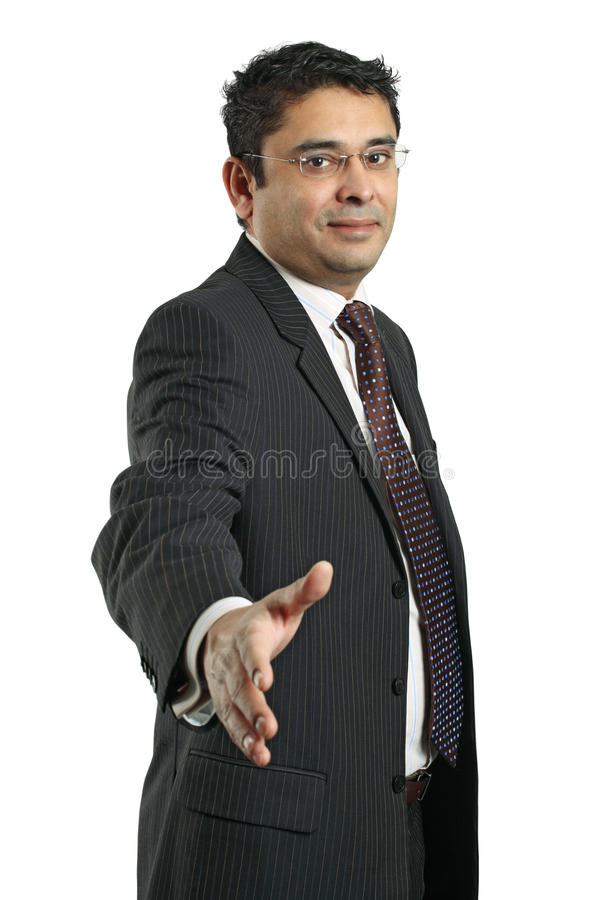 Indischer Geschäftsmanhändedruck stockfoto