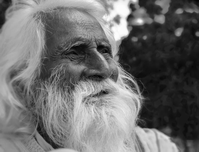 Indischer heiliger Mann auf einem Straßenrand stockfotos