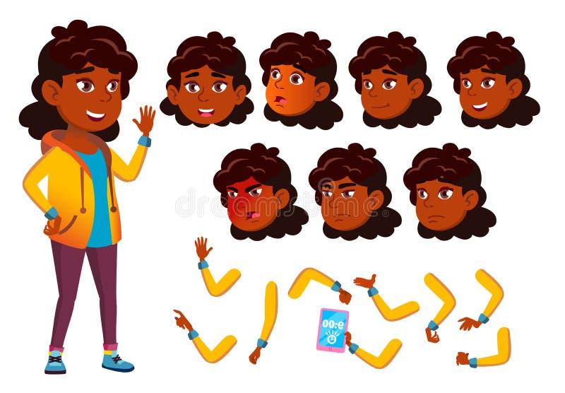 Indischer jugendlich Mädchen-Vektor hinduistisch Asiatisch jugendlicher Gesicht Kinder Gesichts-Gefühle, verschiedene Gesten Anim stock abbildung