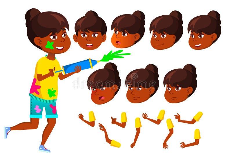 Indischer jugendlich Mädchen-Vektor hinduistisch Asiatisch jugendlicher Holi Gesichts-Gefühle, verschiedene Gesten Animations-Sch stock abbildung