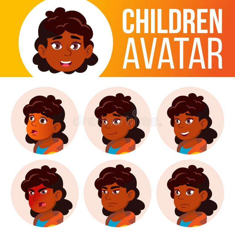 Indischer Mädchen-Avatara-Satz-Kindervektor Der Lehrer erlernt den Jungen, um zu lesen hinduistisch Asiatisch Stellen Sie Gefühle stock abbildung