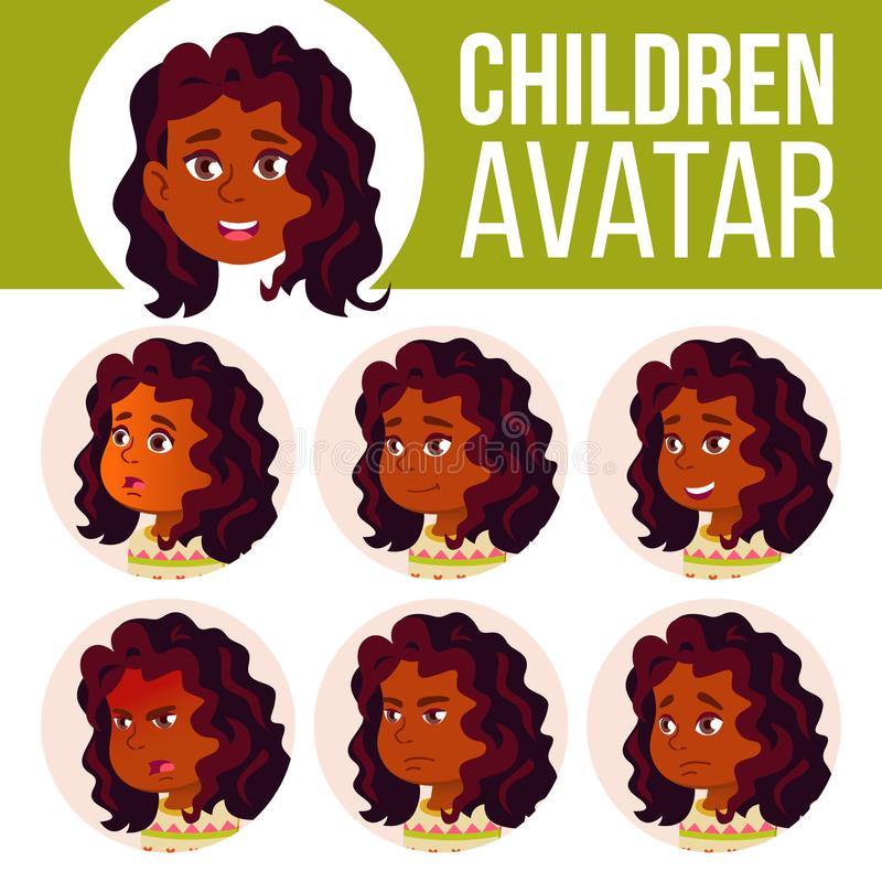 Indischer Mädchen-Avatara-Satz-Kindervektor hinduistisch Asiatisch Highschool Stellen Sie Gefühle gegenüber Schüler Kleiner, Gebu vektor abbildung