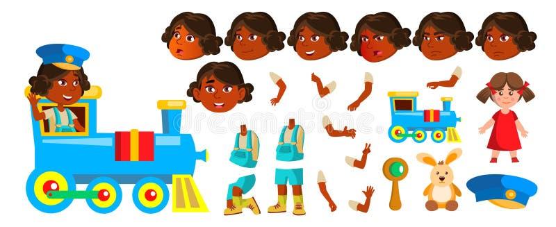 Indischer Mädchen-Kindergarten-Kindervektor Animations-Schaffungs-Satz hinduistisch Asiatisch Gesichts-Gefühle, Gesten Kleines Ki vektor abbildung