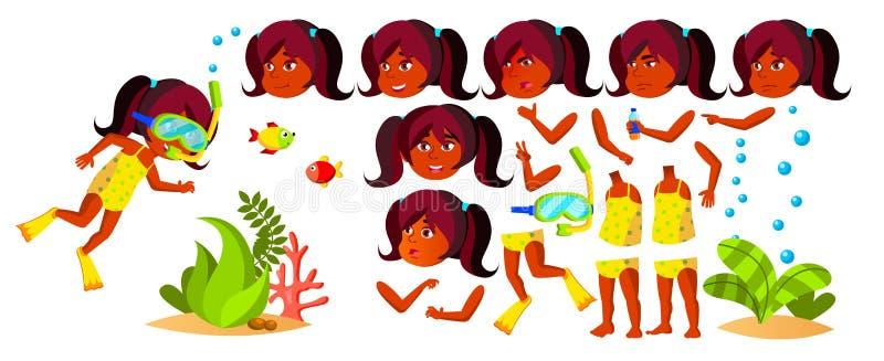 Indischer Mädchen-Kindergarten-Kindervektor hinduistisch Animations-Satz Gesichts-Gefühle, Gesten Schwimmer, Taucher Ozean-Tiefe, stock abbildung