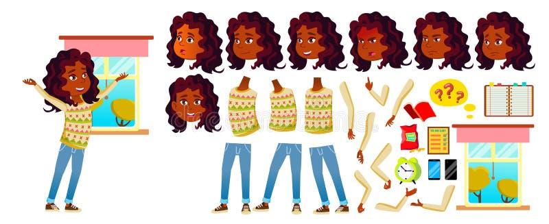 Indischer Mädchen-Kindervektor Highschool Kind Animations-Schaffungs-Satz Gesichts-Gefühle, Gesten schulkind hinduistisch Asiatis lizenzfreie abbildung