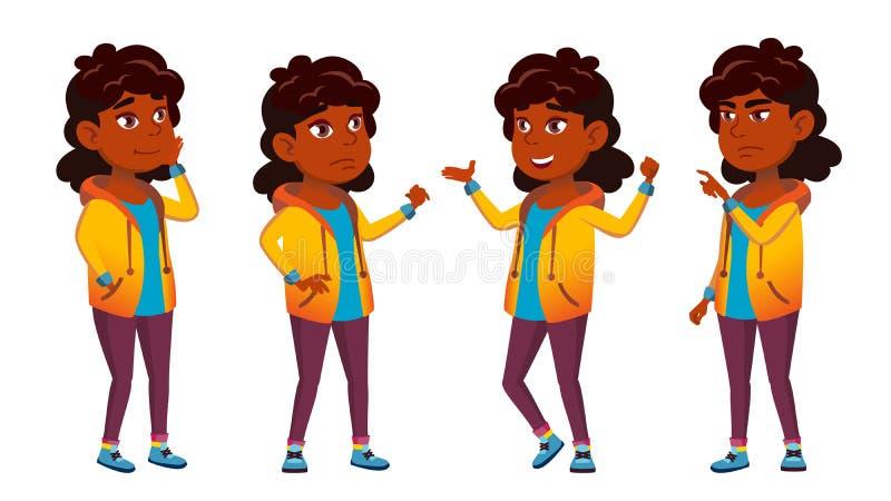 Indischer Mädchen-Schulkindersatz-Vektor Schüler der Grundschule Schüler beifall hinduistisch Asiatisch Für Darstellung Druck stock abbildung