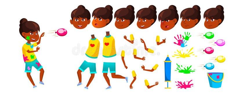 Indischer Mädchen-Schulkindervektor Animations-Schaffungs-Satz Gesichts-Gefühle, Gesten jugend Frühling Holi-Festival hinduistisc vektor abbildung