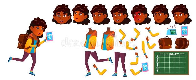 Indischer Mädchen-Schulkindervektor Schüler der Grundschule Animations-Schaffungs-Satz Gesichts-Gefühle, Gesten kursteilnehmer hi lizenzfreie abbildung