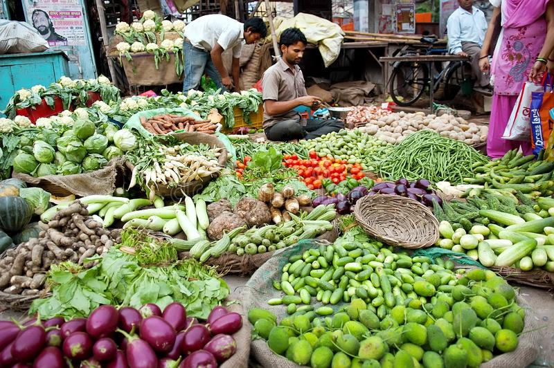 Indischer Mann an seinem Gemüseshop stockbild