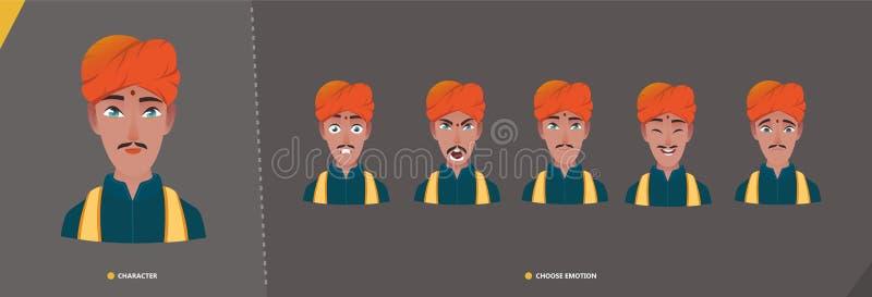 Indischer Mannkerlzeichensatz von Gefühlen vektor abbildung
