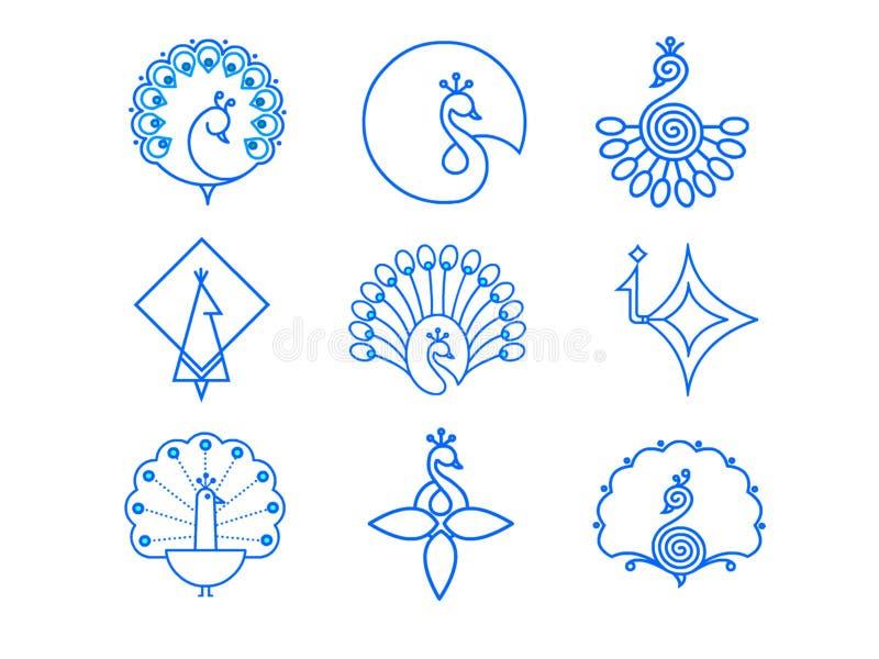Indischer Pfau-Ikonen-Satz lizenzfreie stockbilder
