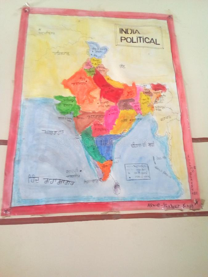 Indischer politischer Karteninder der Arbeitskarte politisch lizenzfreies stockfoto