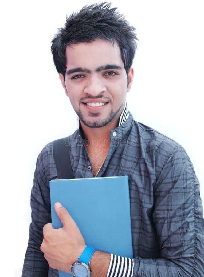 Indischer Student über weißem Hintergrund. stockfoto