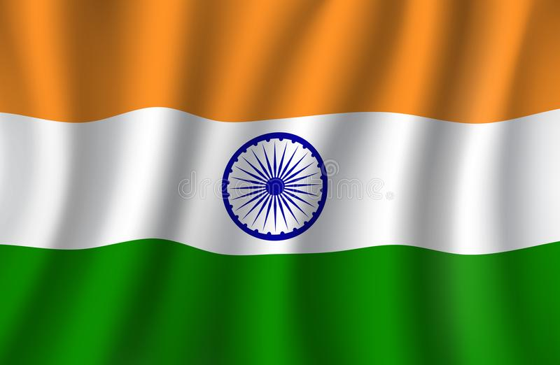 Indischer Vektor der Flagge 3d, nationale Fahne von Indien lizenzfreie abbildung