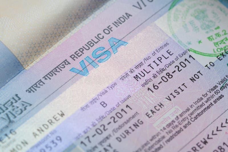 Indisches Geschäfts-Visum stockbilder
