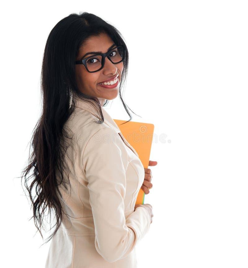 Indisches Geschäftsfrau-Holding-Dateiordnerdokument. lizenzfreies stockfoto