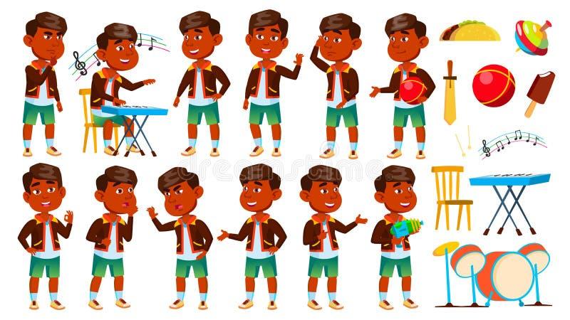 Indisches Jungen-Kindergarten-Kind wirft gesetzten Vektor auf vortraining Jugendlicher freundlich Für Netz Broschüre, Plakat-Desi stock abbildung