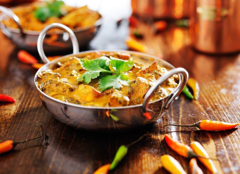 Indisches Lebensmittel - saag paneer Curryteller lizenzfreie stockfotografie