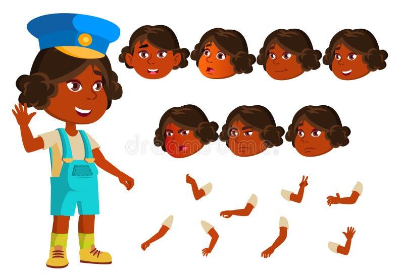 Indisches Mädchen, Kind, Kindervektor hinduistisch Asiatisch jung Gesichts-Gefühle, verschiedene Gesten Animations-Schaffungs-Sat lizenzfreie abbildung