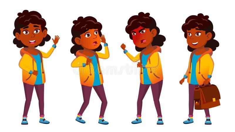 Indisches Mädchen-Kind wirft gesetzten Vektor auf hinduistisch Asiatisch Schüler der Grundschule Kaukasier, Kinder, positiv Für P stock abbildung