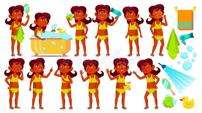 Indisches Mädchen-Kind wirft gesetzten Vektor auf hinduistisch Kind nehmen eine Dusche Beifall, hübsch, Jugend unbearbeitet Pool, lizenzfreie abbildung