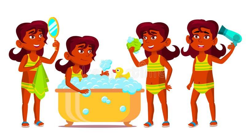 Indisches Mädchen-Kind wirft gesetzten Vektor auf hinduistisch Kind nehmen eine Dusche positiv Für die Werbung Plakat, Druck-Desi lizenzfreie abbildung