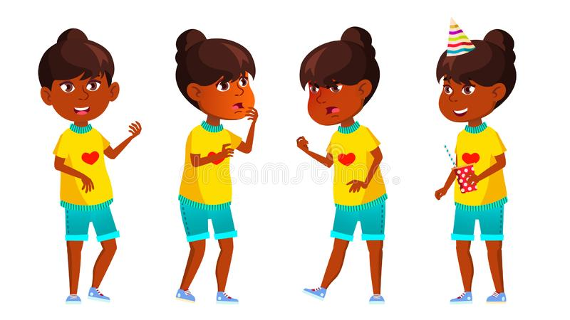 Indisches Mädchen-Kind wirft gesetzten Vektor auf Schüler der Grundschule hinduistisch Asiatisch Party Für Netz Plakat, Broschüre vektor abbildung