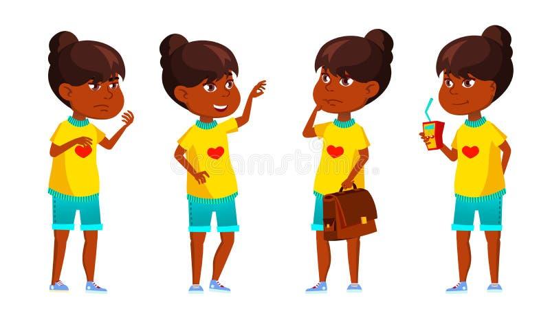 Indisches Mädchen-Kind wirft gesetzten Vektor auf Schüler der Grundschule hinduistisch Asiatisch Wissen, lernt, Lektion Für Werbu vektor abbildung