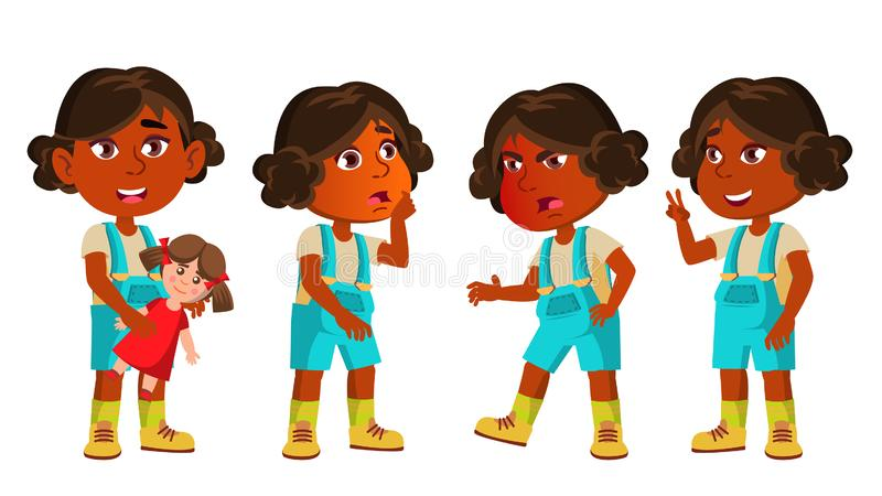 Indisches Mädchen-Kindergarten-Kind wirft gesetzten Vektor auf hinduistisch Asiatisch Glücklicher schöne Kindercharakter Spielen  stock abbildung
