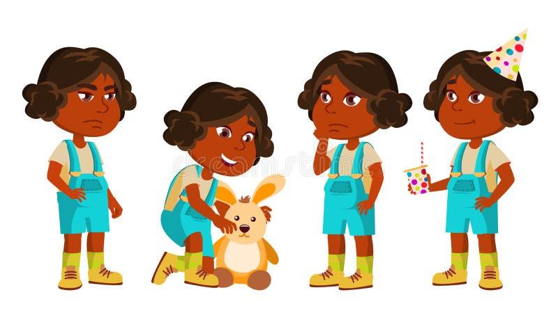 Indisches Mädchen-Kindergarten-Kind wirft gesetzten Vektor auf hinduistisch Spielen mit Hase-Spielzeug Aktiv, Joy Preschooler Für stock abbildung