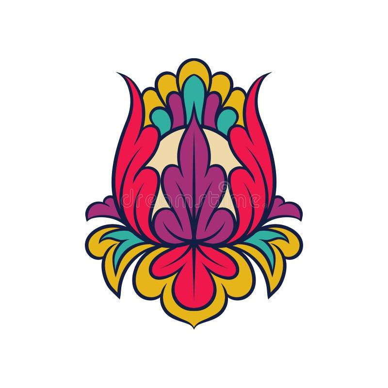 Indisches mit Blumenmuster Abstraktes dekoratives Element Schöne abstrakte Verzierung Vektorentwurf für Postkarte oder Gewebe lizenzfreie abbildung