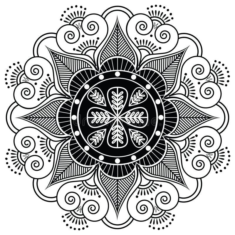 Indisches Muster umgeben mit Herzelementen stock abbildung