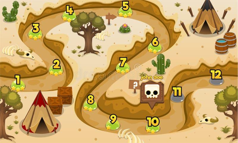 Indisches Stamm-Wüsten-Spiel-waagerecht ausgerichtete Karte lizenzfreie abbildung
