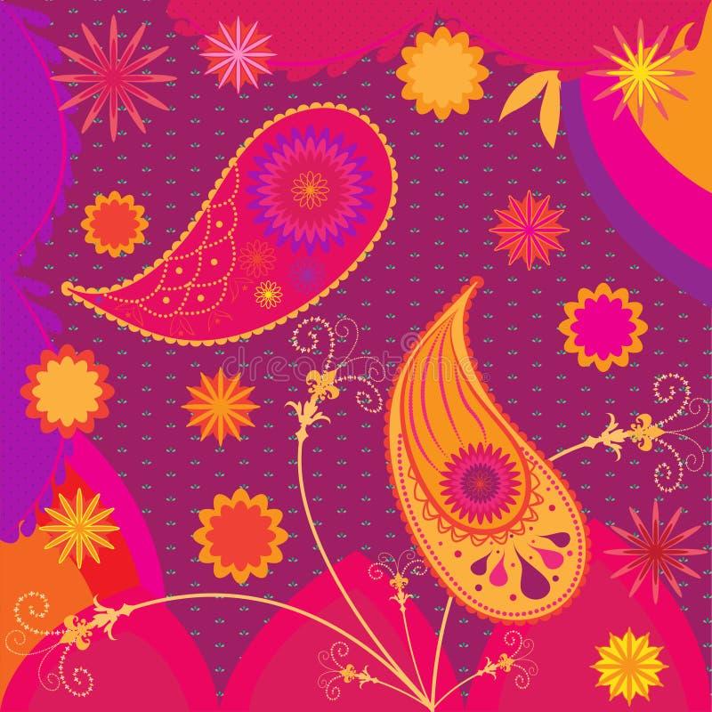 Indisches traditionelles ethnisches Musterdesign im Rosa und in der Orange Paisley, Blumen lizenzfreie abbildung