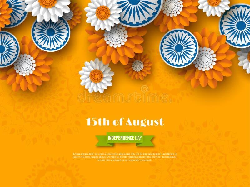 Indisches Unabhängigkeitstagfeiertagsdesign 3d dreht sich mit Blumen in der traditionellen Trikolore der indischen Flagge Papiers vektor abbildung