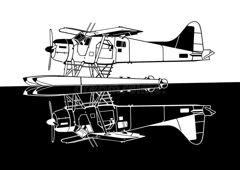 Indiscrete den Combo propellerSeaplanenegationen avspeglar royaltyfria bilder