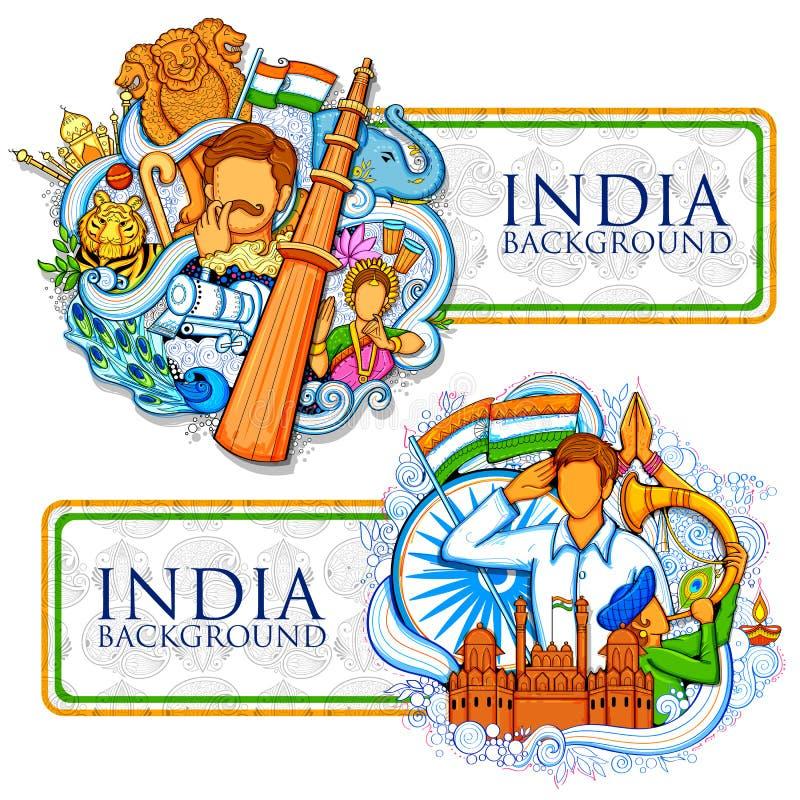Indisk bakgrund som visar dess oerhörda kultur och mångfald för 15th August Independence Day av Indien vektor illustrationer