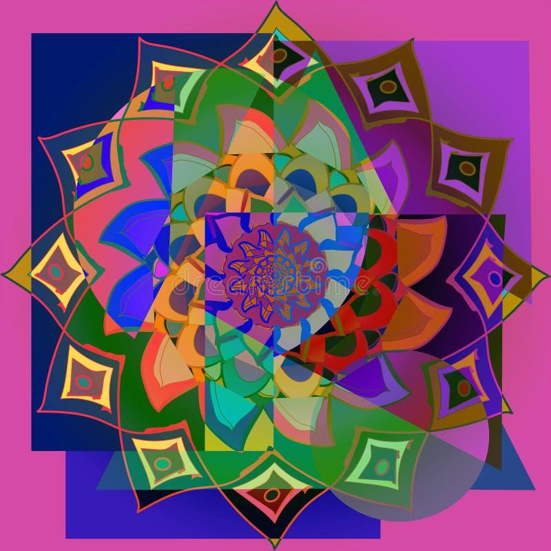 Indisk blommamandala ABSTRAKT FESTLIG COLOFUL-BILD abstrakt bakgrund Dekorativ rund modell royaltyfri illustrationer