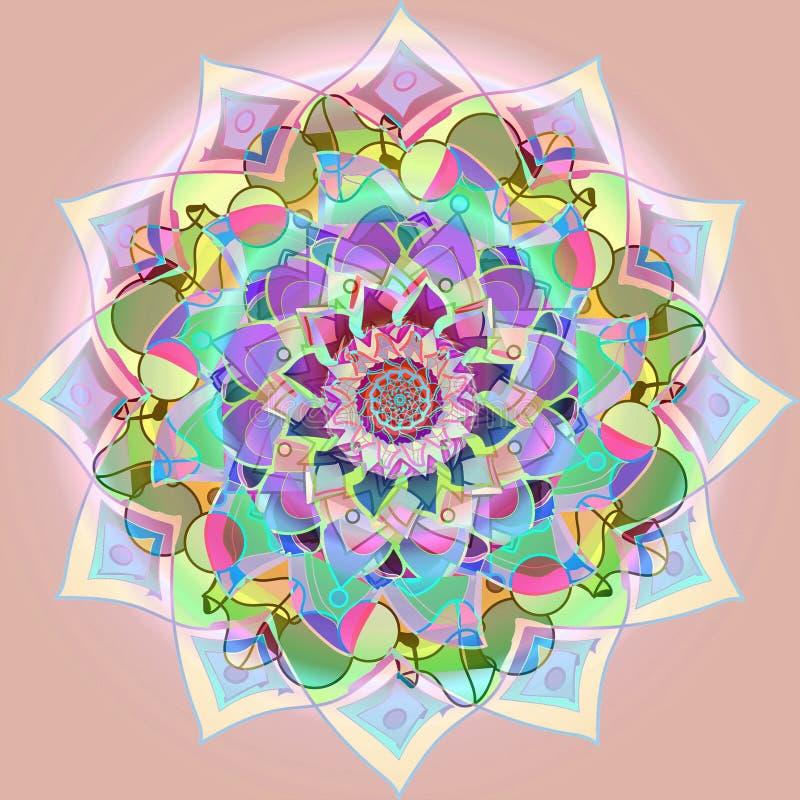Indisk blommamandala PALETT FÖR PASTELLFÄRGADE FÄRGER MJUK ROSA BAKGRUND FÖR SLÄTT CENTRAL BLOMMA MED CIRKLAR I ROSA FÄRGER, FUCH vektor illustrationer