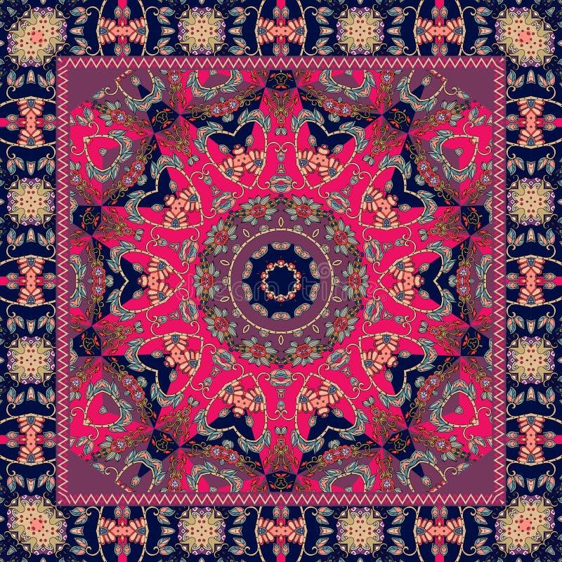 Indisk bordduk med blomman - mandala Filt halsduk, örngott stock illustrationer