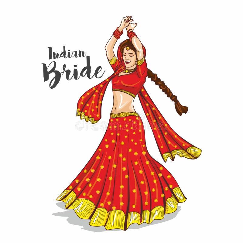 Indisk brudillustration vektor illustrationer