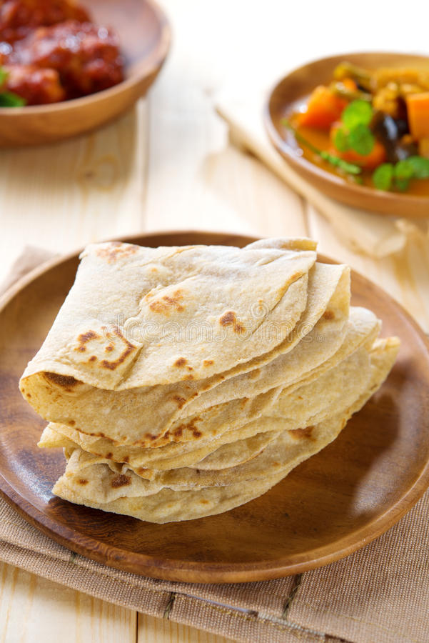 Indisk Chapati eller chapatti royaltyfri foto