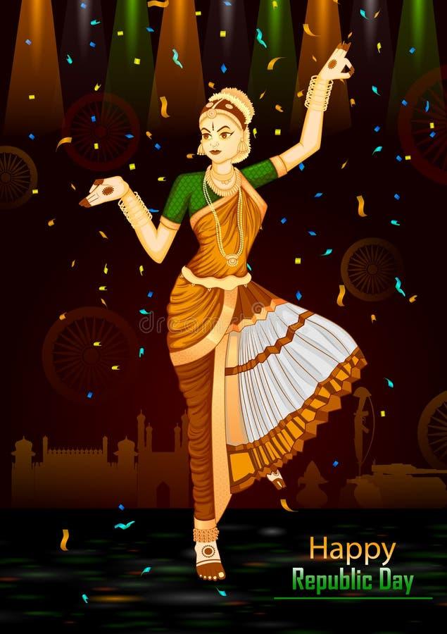 Indisk dansare på 26th Januari, lycklig republikdag av Indien vektor illustrationer