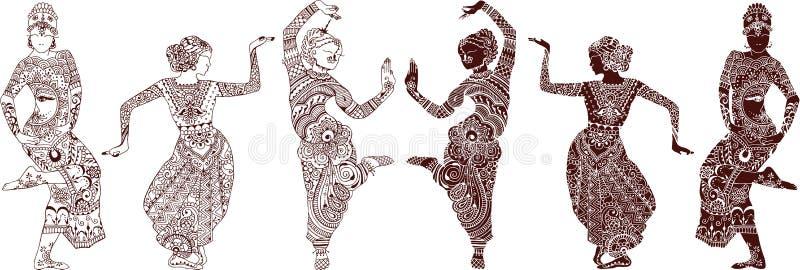 Indisk dansareuppsättning stock illustrationer