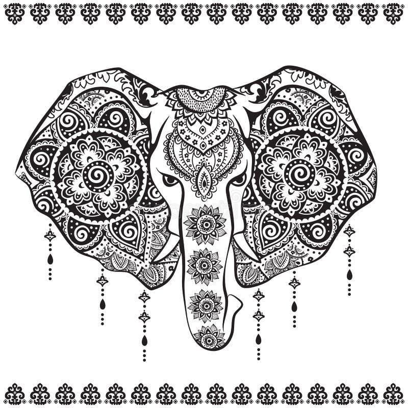 Indisk elefant för tappning med den stam- prydnadillustrationen stock illustrationer