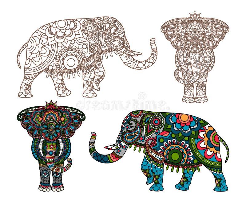 Indisk elefant för vektor stock illustrationer