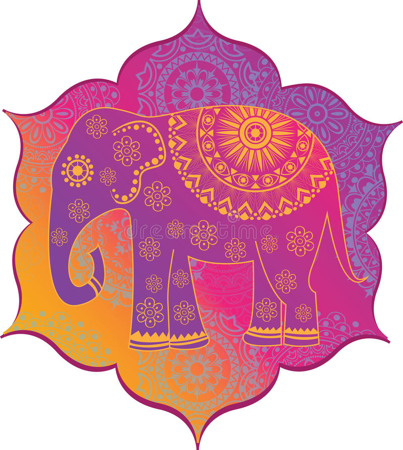 Indisk elefant med textur royaltyfri illustrationer