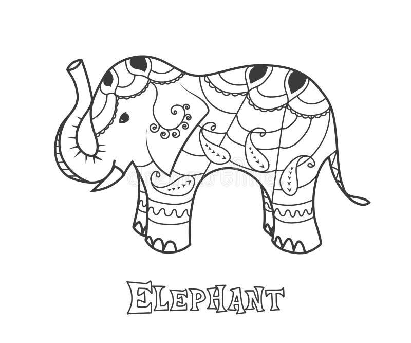 Indisk elefant Räcka den utdragna stiliserade elefanten med den dekorativa stam- etniska prydnaden stock illustrationer