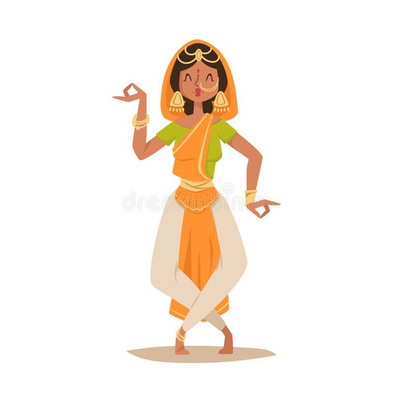 Indisk för Indien för folk för symboler för kontur för dansare för kvinnadans vektor isolerad film för parti för show dans, biote royaltyfri illustrationer