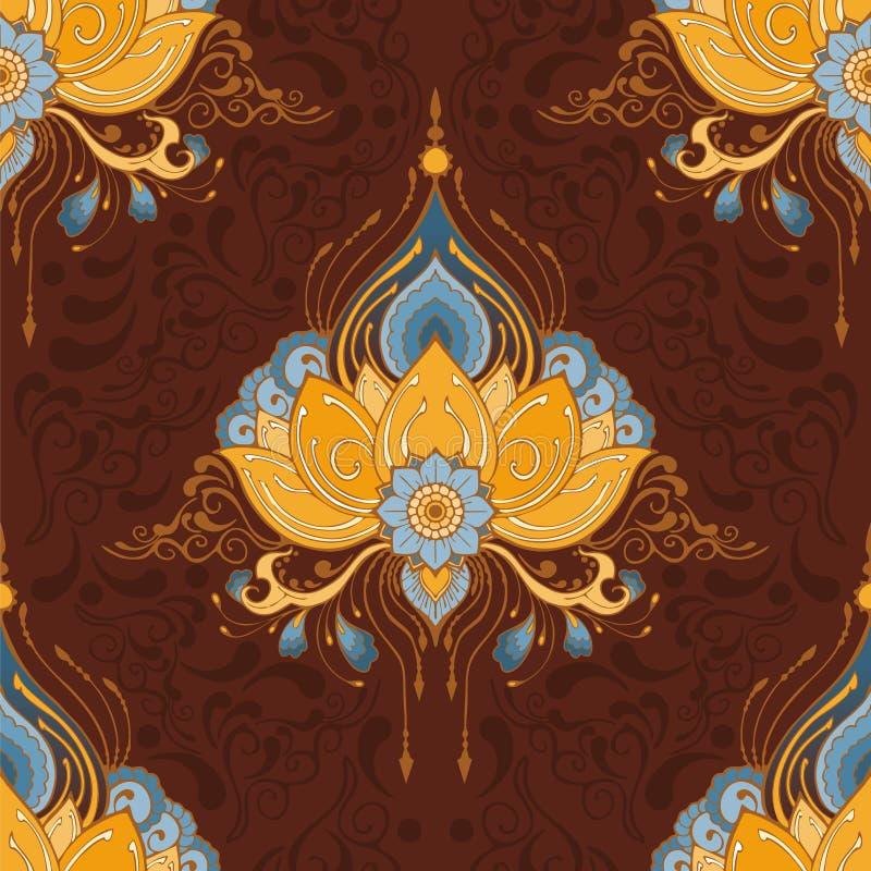 Indisk för sömlös-modell för vektor för lotusblommablomma meditation för yoga för stil för tatuering för henna mehndi el vektor illustrationer